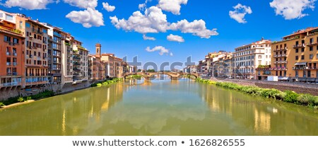 Ponte Vecchio bridge and Florence waterfront sunrise view Stock photo © xbrchx