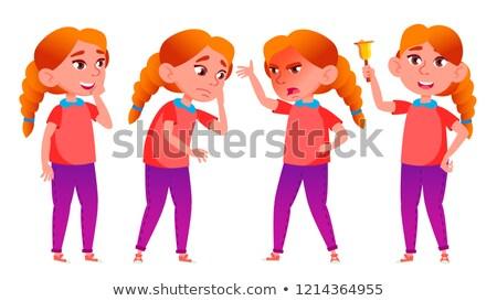 Stok fotoğraf: Girl Schoolgirl Kid Poses Set Vector Redhead High School Child Secondary Education Casual Clothe