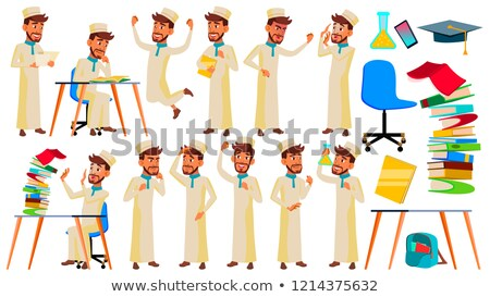teen boy poses set vector arab muslim face children for web brochure poster design isolated stock photo © pikepicture