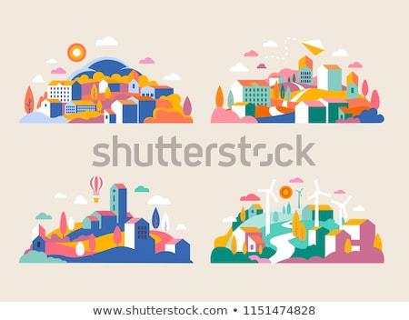 Szélmalom domb szín absztrakt gyár búza Stock fotó © robuart
