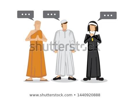 Christian nun and buddhist monk Stock photo © colematt