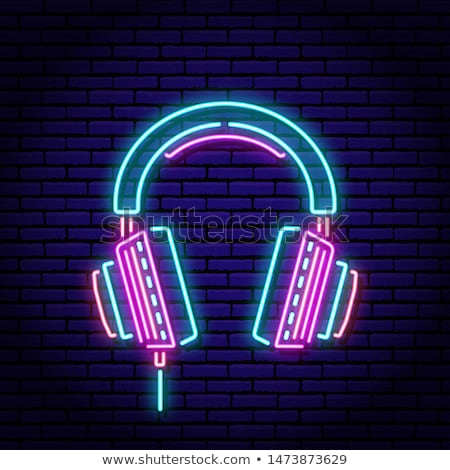 Słuchawki neon muzyki promocji świetle tle Zdjęcia stock © Anna_leni