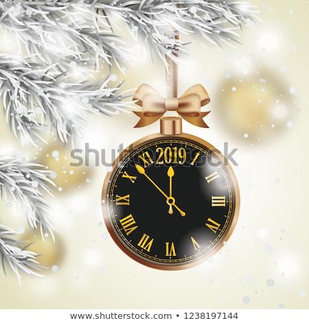 Рождества · венок · часы · иллюстрация · Новый · год · украшение - Сток-фото © limbi007