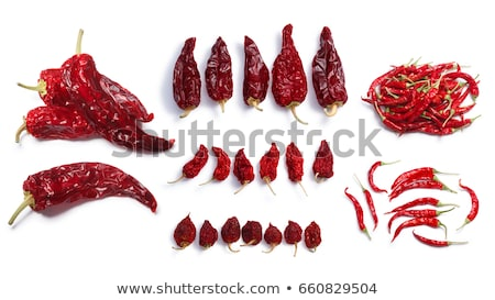 Dried hot wax peppers, paths, top view Stock photo © maxsol7