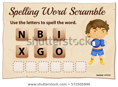 Spelling scramble game template for boxing Stock photo © colematt