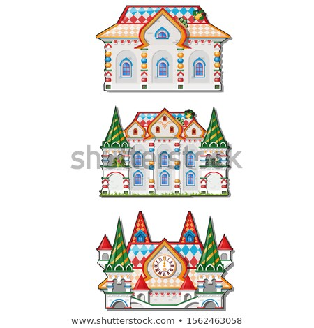 Fairytale castle festively decorated isolated on white background. Vector cartoon close-up illustrat Stock photo © Lady-Luck