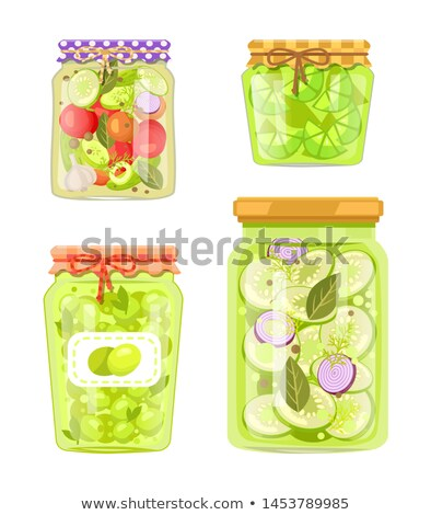 Pickled Cucumbers and Zucchini with Spicery Jars Stock photo © robuart