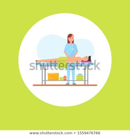 брюшной медицинской массаж Cartoon плакат вектора Сток-фото © robuart