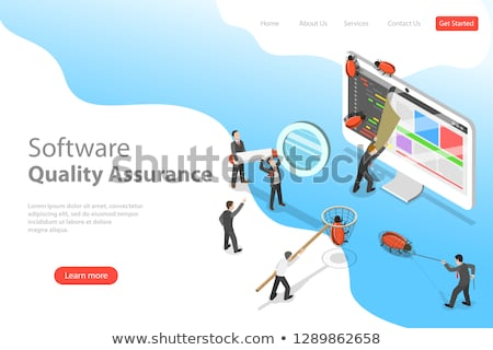 isometric flat vector landing page template of software quality assurance stock photo © tarikvision