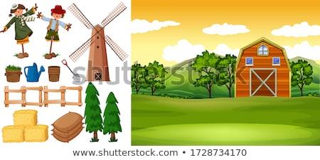 Farm scene with windmill and scarecrow Stock photo © colematt