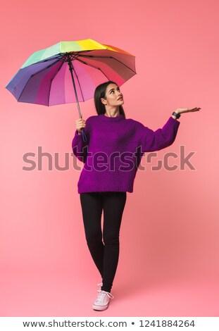 gökkuşağı · şemsiye · beyaz · yalıtılmış · renkler · hava · durumu - stok fotoğraf © deandrobot