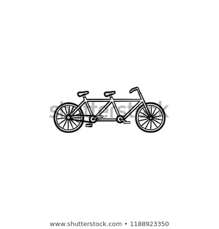 vintage · silhouette · tandem · vélo · icône · isolé - photo stock © rastudio