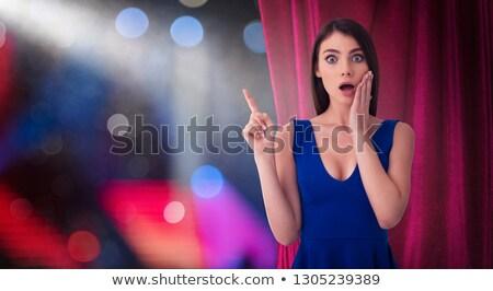 pretty · woman · czerwony · zasłony · coś · teatr · pokaż - zdjęcia stock © alphaspirit