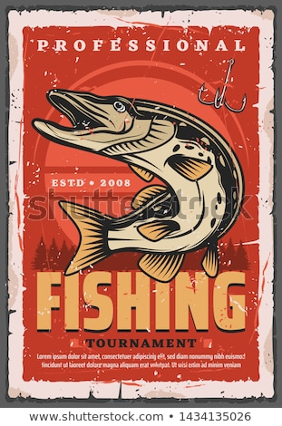 Fishing Poster with Fisherman Vector Illustration Stock photo © robuart