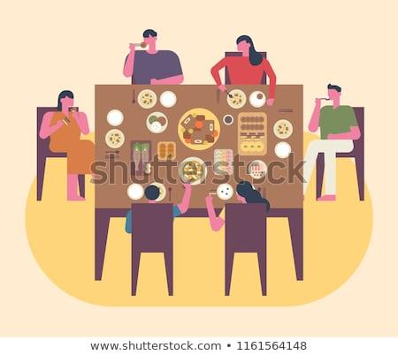 Aile akşam yemeği dizayn stil renkli örnek Stok fotoğraf © Decorwithme
