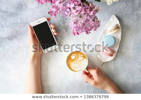 woman or feminine workspace with notebook coffee macarons and flowers stock photo © illia