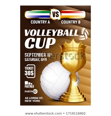 Stock photo: Volleyball Award Vector. Volleyball Ball, Golden Cup. For Sport Promotion. Tournament, Championship