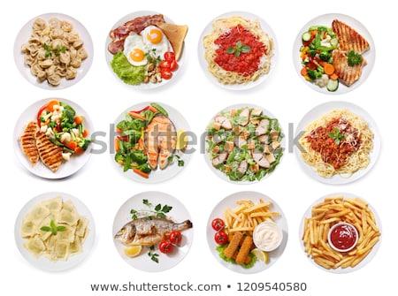 brócolis · prato · comida · ovo · pão - foto stock © tycoon