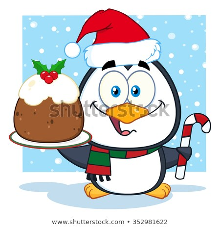 Cute pinguin christmas pudding Stockfoto © hittoon