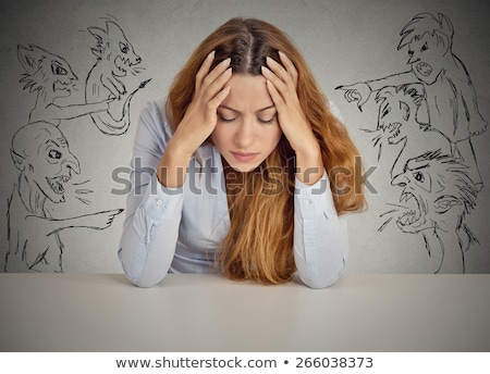 Stressed woman feeling negative emotions Isolated on gray background stock photo © studiolucky