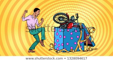 Afrikaanse man motorfiets vakantie geschenkdoos grappig Stockfoto © studiostoks