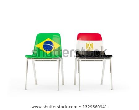 Kettő székek zászlók Brazília Egyiptom izolált Stock fotó © MikhailMishchenko