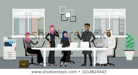 Arap iş kadını siyah beyaz başörtüsü karikatür vektör Stok fotoğraf © NikoDzhi