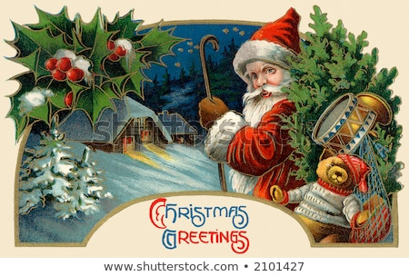 Holly Jolly Greeting Card with Santa Claus and Elf Stock photo © robuart