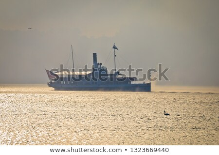 пар лодка озеро утра тумана силуэта Сток-фото © xbrchx