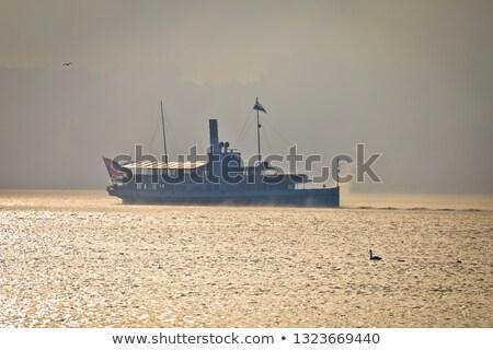 Buhar tekne göl sabah sis siluet Stok fotoğraf © xbrchx