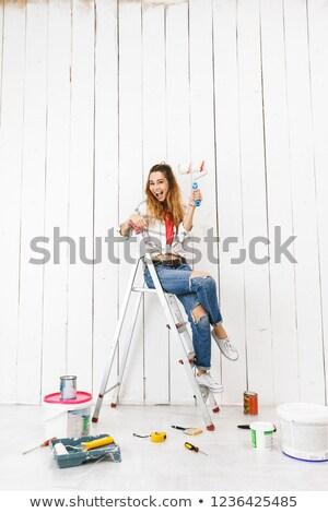 写真 若い女性 20歳代 座って はしご ストックフォト © deandrobot
