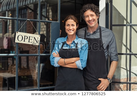 üzlet · pár · lány · megbeszélés · munka · tömeg - stock fotó © lemony