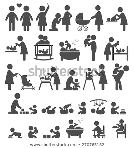 Woman and Baby Mothers with Perambulators Set Stock photo © robuart