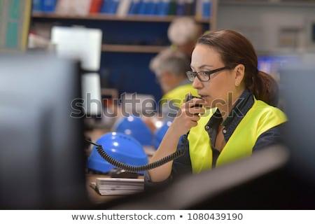 işçi · müşteri · hizmetleri · fabrika · işçisi · üretim · müdür · bakmak - stok fotoğraf © boggy