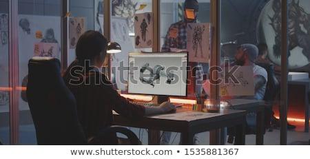 junger · Mann · arbeiten · Laptop · Stil · Illustration · heiter - stock foto © jossdiim