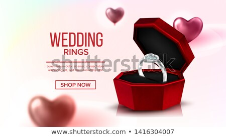 Diamond Platinum Ring In Box Landing Page Vector Stock photo © pikepicture