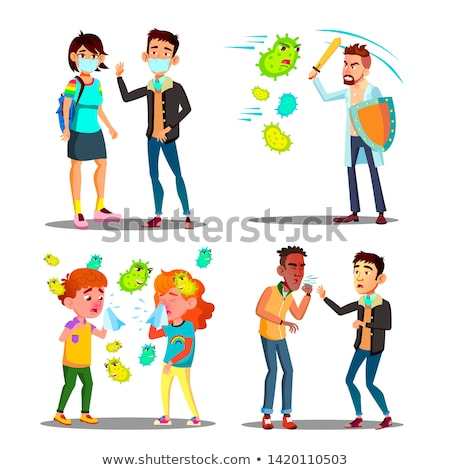 season allergy microbe attack character set vector stock photo © pikepicture