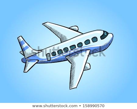 military fighter attack jet airplane cartoon vector illustration stock photo © jeff_hobrath