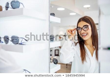 occhiali · vendita · felice · donna · bacio · salvadanaio - foto d'archivio © kzenon