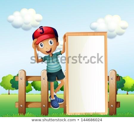 üres tábla sablon gyerekek zöld tábla illusztráció Stock fotó © bluering