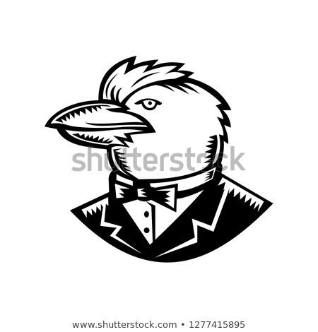 Smoking zwart wit retro stijl illustratie Stockfoto © patrimonio