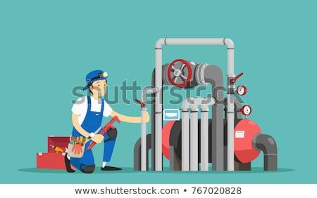 Cartoon Plumber Repairing a Pipe Stock photo © Voysla