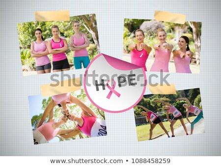hope text and breast cancer awareness photo collage and marathon run stock photo © wavebreak_media