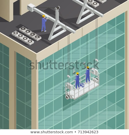 Vector isometric skyscraper windows cleaning Stock photo © tele52