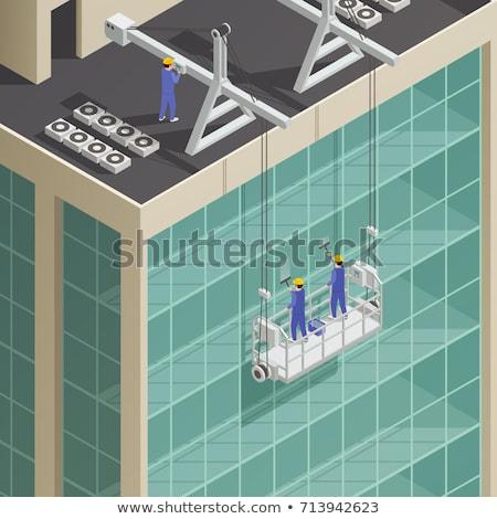 mantenimiento · hombre · caminando · escalera · construcción · trabajador - foto stock © tele52