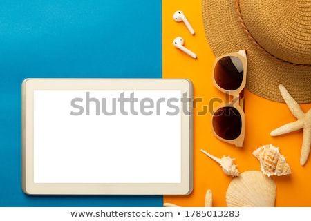 Stock photo: tablet computer and seashells on beach sand