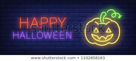 izzik · üdvözlőlap · boldog · halloween · felirat · neon - stock fotó © lissantee