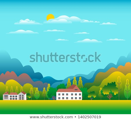 Colline montagna panorama stile design valle Foto d'archivio © cosveta