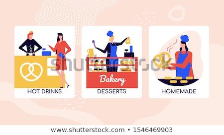 ベーカリー デザート ショップ ベクトル カラフル バナー ストックフォト © Decorwithme