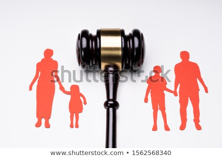 Separated Family Figure And Judge Gavel Over White Surface Stock photo © AndreyPopov